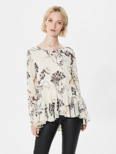 FLOWER PRINTED - LONG SLEEVED TOP, Rainy Day, large