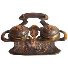 Art Nouveau metal inkwell with crocuses, geschutzt from Juliet Jones Vintage on Ruby Lane
