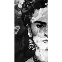 Black And White Frida Kahlo By Sharon Cummings by Sharon Cummings ❤ liked on Polyvore featuring home, home decor, black white home decor, black and white home decor and black and white home accessories