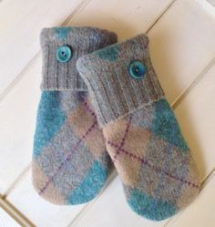 Women's Argyle Teal Tan Grey Felted Wool Repurposed Sweater Mittens Size Medium with Blue Fleece Lining Plastic Teal Buttons Ready to Ship by SewforYou on Etsy