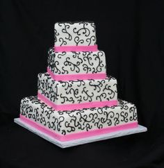 Hot Pink & Black Wedding Cake