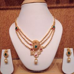 Gold Ruby Emerald Necklace from PSJ ~ South India Jewels Multi Strand Necklace, Gold Necklace, Layer Necklace, Stone Necklace, Peacock Necklace, Simple Necklace, Necklace Set, Gold Earrings, Gold Jewellery Design
