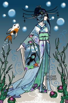 Inkscribble doll by TheNightLife. I haven't made geisha's in a while and almost forgot how fun it is!(The fishes were inspired by Kanansai's Swim with the Fishes) Male Mermaid, Avatar Maker, Doll Games, Doll Divine, Elves And Fairies, Dark Disney, Gothic Halloween, Dress Up Dolls, Anime Animals