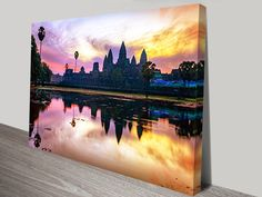 This is a beautiful print of a photograph of Angkor Wat at sunset,  it makes a nice addition to the spiritual wall art collection.