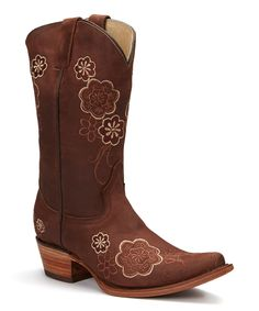 Look at this Bonanza Boots Latigo Brown Embroidered Leather Cowboy Boot on #zulily today!