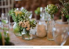 rustic green and beige