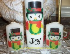 Who doesn't decorate with candles at Christmas!  Owl Joy Christmas Candle Set by TheNextTimeAround on Etsy, $12.00.  #TBEC