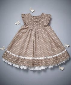 Spot Frill Dress - Welcome to the World - View All - Mamas & PapasLarge image of Spot Frill Dress - Welcome to the World - opens in a new windowOur diapason baby girls dresses has one particular thing to fit every toddler, it doesn't matter if she's Frocks For Girls, Kids Frocks, Little Girl Outfits, Little Girl Fashion, Little Dresses, Little Girl Dresses, Kids Outfits, Kids Fashion, Girls Dresses