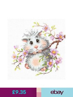 Rabbit with chicken easter card counted cross stitch kit lucas wonderful needle hand embroidery kits ebay crafts negle Images