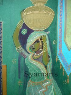 original drawing with decoupage. Indian girl with waterpot, small art piece, green mauve gold, syamarts, travel art, india