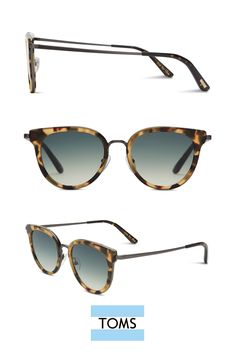 Rey Blonde Tortoise Sunglasses from TOMS. The Rey's cat-eye frame and mixed metal and handmade acetate construction give these shades an updated retro vibe.