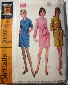 McCalls 9107 Coat Dress Pattern 1960sVintage by Denisecraft, $6.99