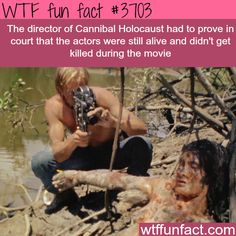 The director of Cannibal Holocaust had to prove in court that the actors were still alive and didn't get killed during the movie - WTF fun facts Wtf Fun Facts, True Facts, Funny Facts, Random Facts, Random Stuff, Best Horror Movies, Horror Films, Interesting Information, Literatura