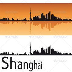 Shanghai Skyline in Orange Background