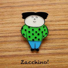 Zacchino!のゆるいオリジナルイラストをブローチにしました。線、着色ともにひとつひとつ手作業で丁寧に仕上げています。「そうですか」ええ、ええ、そうですか...|ハンドメイド、手作り、手仕事品の通販・販売・購入ならCreema。