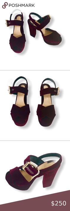 "THE SELLER Velvet Platform Sandals Heels S… The seller burgundy velvet platform sandals  New without box  Size: 35 Color: Burgundy Buckling ankle strap closure. Round toe line Geometric heel Leather lining Leather sole Heel: 4.29"" Platform height 1.56"" The Seller Shoes Platforms"