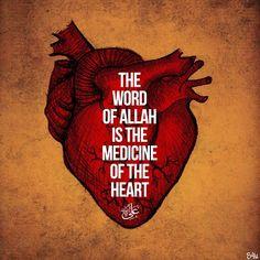 """The word of Allah is the medicine of the heart"" Imam Ali ibne Abi Talib(a. Islamic Qoutes, Islamic Teachings, Islamic Inspirational Quotes, Muslim Quotes, Religious Quotes, Islamic Dua, Islam Hadith, Islam Muslim, Islam Quran"