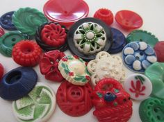 Vintage Buttons  Cottage chic mix of red by pillowtalkswf on Etsy, $8.95