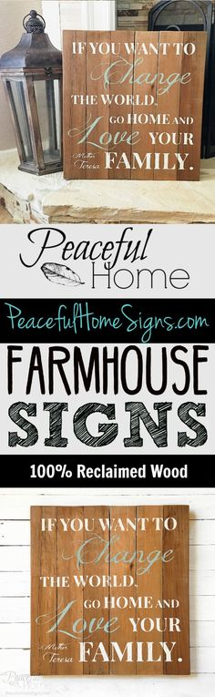 This sign is STUNNING! I absolutely love the color combo. So natural and neutral. | If you want to change the world, go home and love your family. -Mother Teresa | Large square wood sign | Mother Teresa quotes | Handmade farmhouse signs.