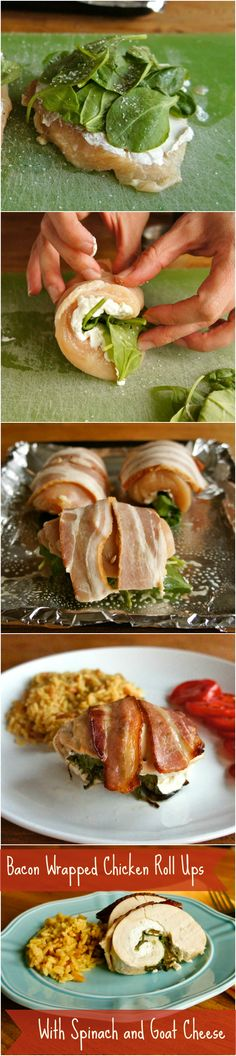 Bacon Wrapped Chicken Roll Ups with Spinach and Goat Cheese - This elegant #chicken #recipe is perfect for family meals or dinner parties! Check out the step-by-step photo tutorial at wearychef.com.