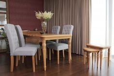 Elegant Oak Dining Furniture with beautiful upholstered chairs Upholstered Chairs, Dining Furniture, Dining Table, Elegant, January, Home Decor, Beautiful, Accent Chairs, Classy