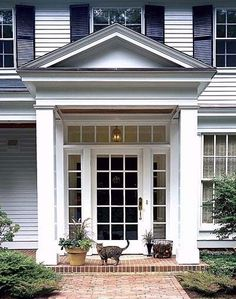 How to add curb appeal with a portico using columns and detailed molding to create an eye catching roof structure in the front of our home. Portico Entry, Front Door Entrance, Front Entrances, House Entrance, Entry Foyer, Doorway, Front Doors, Colonial Exterior, Exterior Design