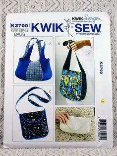 Kwik Sew 3700, Bags Sewing Pattern, Kwik Serge Bags Pattern, Purse Patterns, Clutch Pattern, Uncut by Allyssecondattic on Etsy