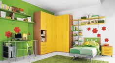 Minimalist Chat Room For Kids Design With Green Yellow White Interior Floral Wall Decals Green Carpet Sectional Closet Design