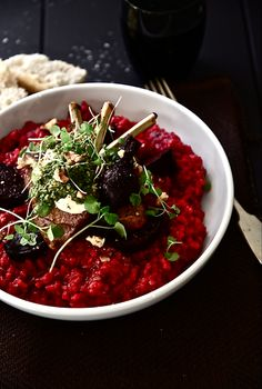 Beetroot Risotto with Roasted Beets, Lamb, Soft Goat Cheese and Rocket and Walnut Pesto