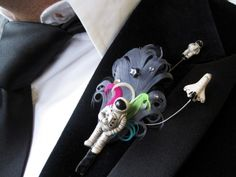 Themed boutonnieres and funky corsage pins from I Do Novelty | Offbeat Bride