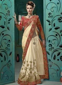 Red Cream Embroidery Booti Work Chiffon Net Half Wedding Sarees Online http://www.angelnx.com/Sarees/Wedding-Sarees