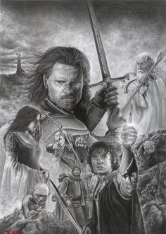 The main cast of LOTR, in fine art, by Daisy Van Den Berg. Hobbit Art, O Hobbit, Lord Of The Rings Tattoo, Ring Sketch, Images Minecraft, Realistic Drawings, Middle Earth, Art Sketches, Figure Drawings