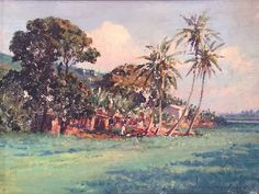 Landscape, Windward Oahu   by  D. Howard Hitchcock (1861-1943) #dhowardhitchcock #oil #cedarstreetgalleries