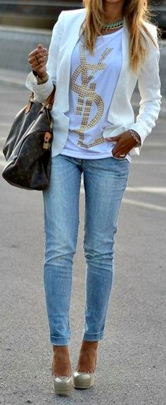 White, Gold and Jean Outfit