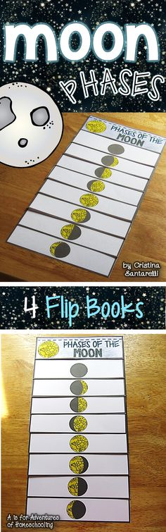 Moon Phases flip booklet features eight phases of the moon in total: new moon, waxing crescent, first quarter, waxing gibbous, full moon,, waning gibbous, last quarter, waning crescent. The Moon Phases flip book includes 4 versions of the booklet. 1 where students can trace the moon phases words, 3 where students can write the moon phases words. You decide which one students fill out!