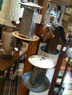 Bird feeders made from old pot lids and graters... from Clever Karen: Vintage Home - Shipshewana