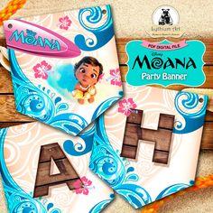 Moana Banner - Moana Party Banner - Moana Printable Banner - Moana Party Supplies - Princess Moana - Moana Birthday Party - Moana Garland de LythiumArt en Etsy