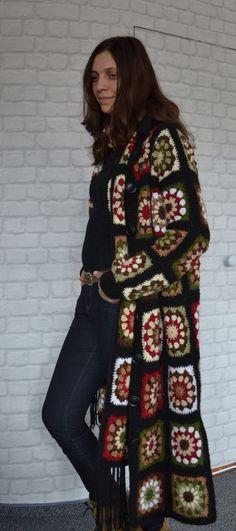 Granny Square Coatscarf hoody jacket friform hand by AlisaSonya