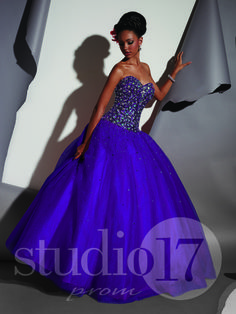 Studio 17 Style 12471: Strapless sweetheart neckline, low torso, fully encrusted bodice in sequins, stones, and beading, full tulle ball gown with scattered sequins, lace-up back. #prom #prom2014 #pageant #dress #specialoccasion #formalwear #studio17 #houseofwu