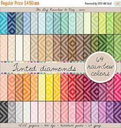 SALE 64 tinted diamond digital paper rainbow by TheDigiRainbow