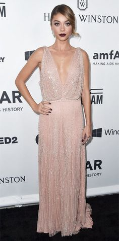 Sarah Hyland fused sweet and sexy at the 2015 amfAR Inspiration Gala, selecting a plunging bead-embroidered blush Jenny Packham gown with Lorraine Schwartz diamonds for the occasion.