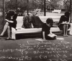 Female Soviet college students studying for exam in the park in late 1960s.