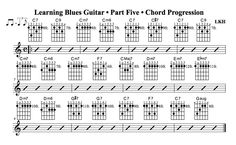 Learning Blues Guitar • Part Five • Chord Progression - News - Bubblews. The beginning of chapter five. Introduces ninth chords and some cool blues jazz substitutions. Link to the instructional video included.