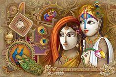 Ads Art Poster Wall decorative and Personalise Greeting cards Jai Hanuman, Jai Shree Krishna, Krishna Radha, Lord Krishna, Radha Krishna Love Quotes, Radha Krishna Pictures, Krishna Painting, Ad Art, Morning Greeting