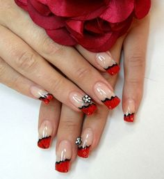 Day 148: Red French Floral Nail Art