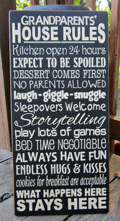 Large Wood Sign Grandparents House Rules by BedlamCountryCrafts