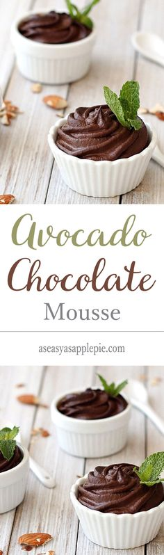 A gluten-free, egg-free, dairy-free, vegan dessert. The recipe for this healthy avocado chocolate mousse is super easy and can be made in 2 minutes