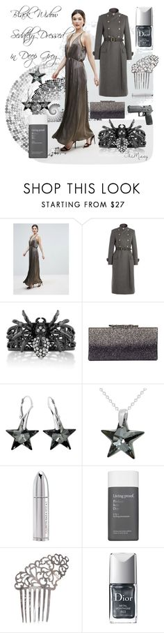 """sedate grey metallic, black widow"" by caroline-buster-brown ❤ liked on Polyvore featuring Amy Lynn, Philosophy di Lorenzo Serafini, BERRICLE, Jimmy Choo, Juliette Has A Gun, Living Proof and Christian Dior"