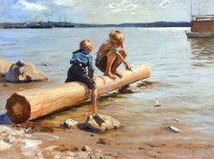 """This is """"Boys Playing"""" by Albert Edelfelt painted in 1884. Edelfelt was a Swedish speaking Finnish painter ..."""