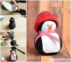 DIY Bastelideen für Weihnachtsbasteln mit Kindern, Geschenke selber machen, Mit Socken und Reis basteln, Schneemann und Pinguin Deko